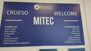 Welcome board at Mitec