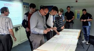 workshop attendees selecting a shortlist from a selection of flipcharts