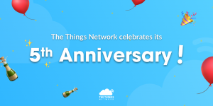 The Things Network 5th Anniversary card graphic