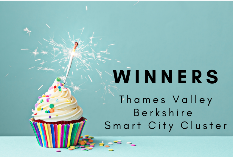 cupcake and candle. Text - Winners - Thames Valley Berkshire Smart City Cluster